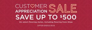 Customer appreciation sale banner | Pilot Floor Covering